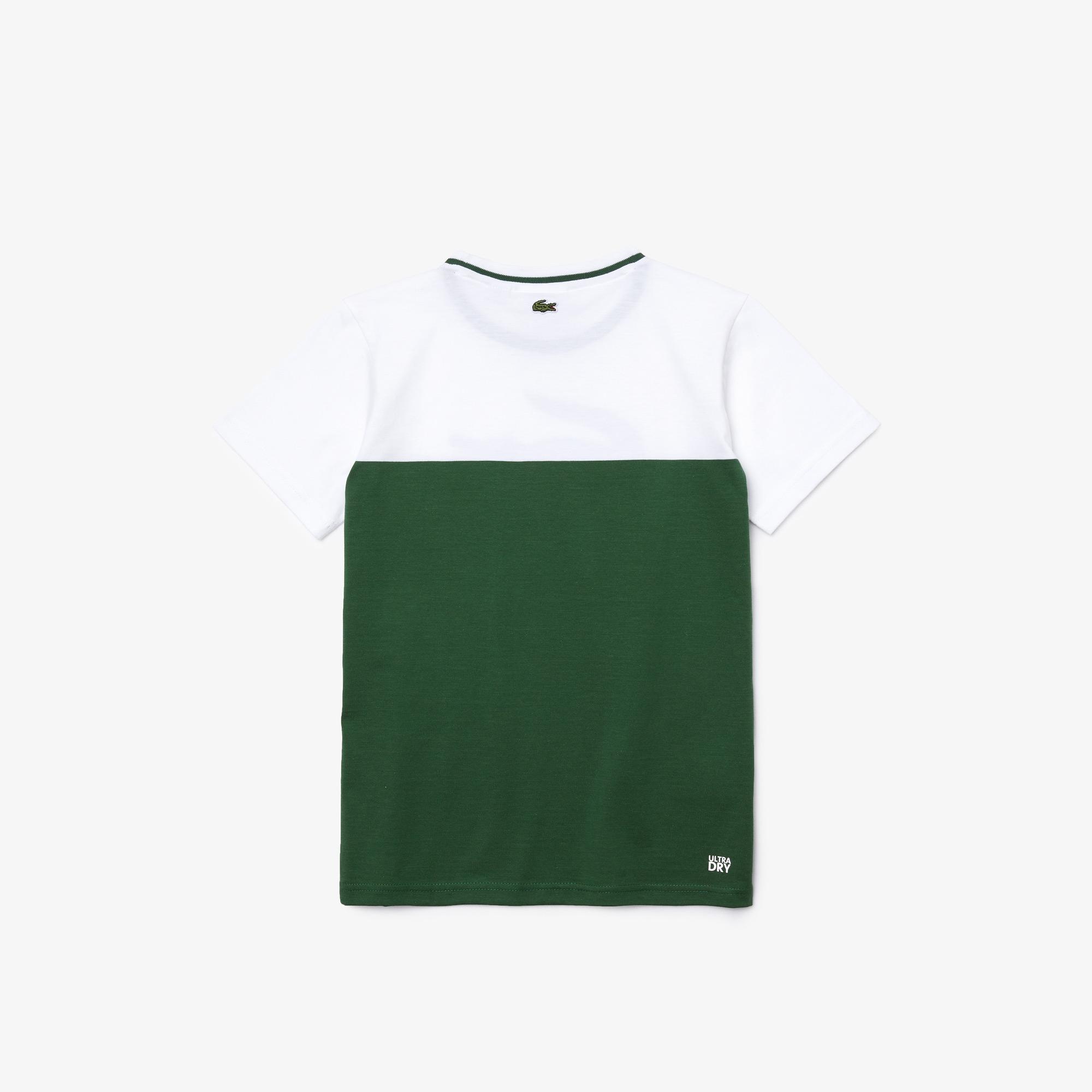 Lacoste Çocuk Bisiklet Yaka Baskılı Renk Bloklu Yeşil - Beyaz T-Shirt