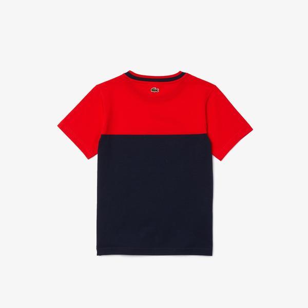 Lacoste Çocuk Bisiklet Yaka Baskılı Renk Bloklu Lacivert - Saks Mavi T-Shirt