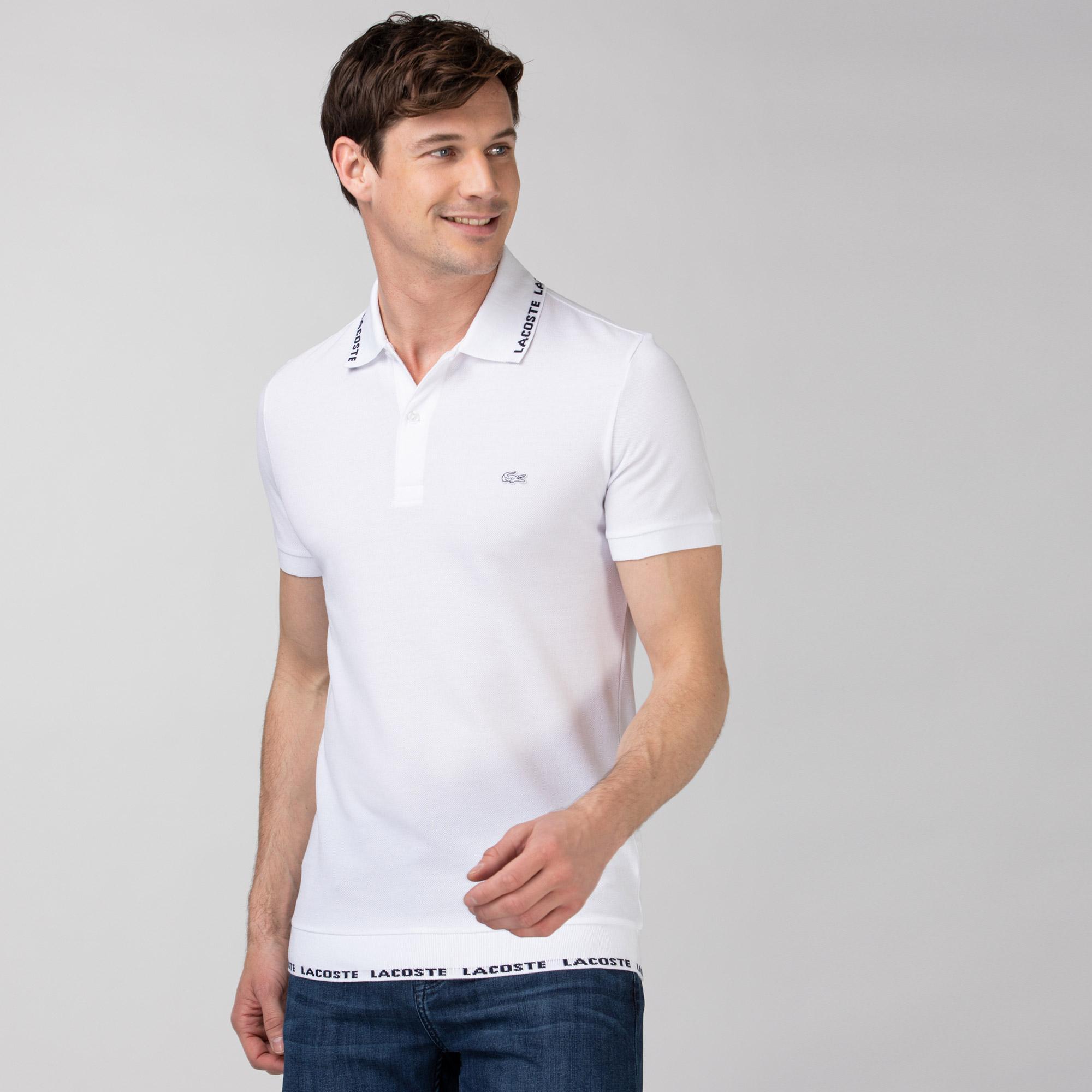 Lacoste Erkek Baskılı Beyaz Polo
