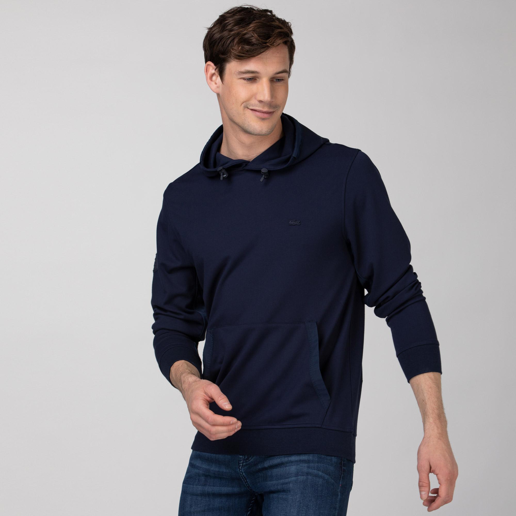 Lacoste Erkek Kapüşonlu Baskılı Lacivert Sweatshirt