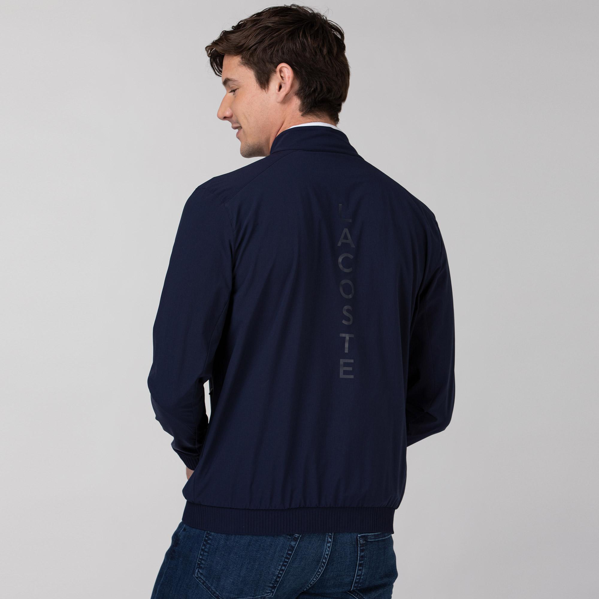 Lacoste Erkek Dik Yaka Baskılı Lacivert Ceket
