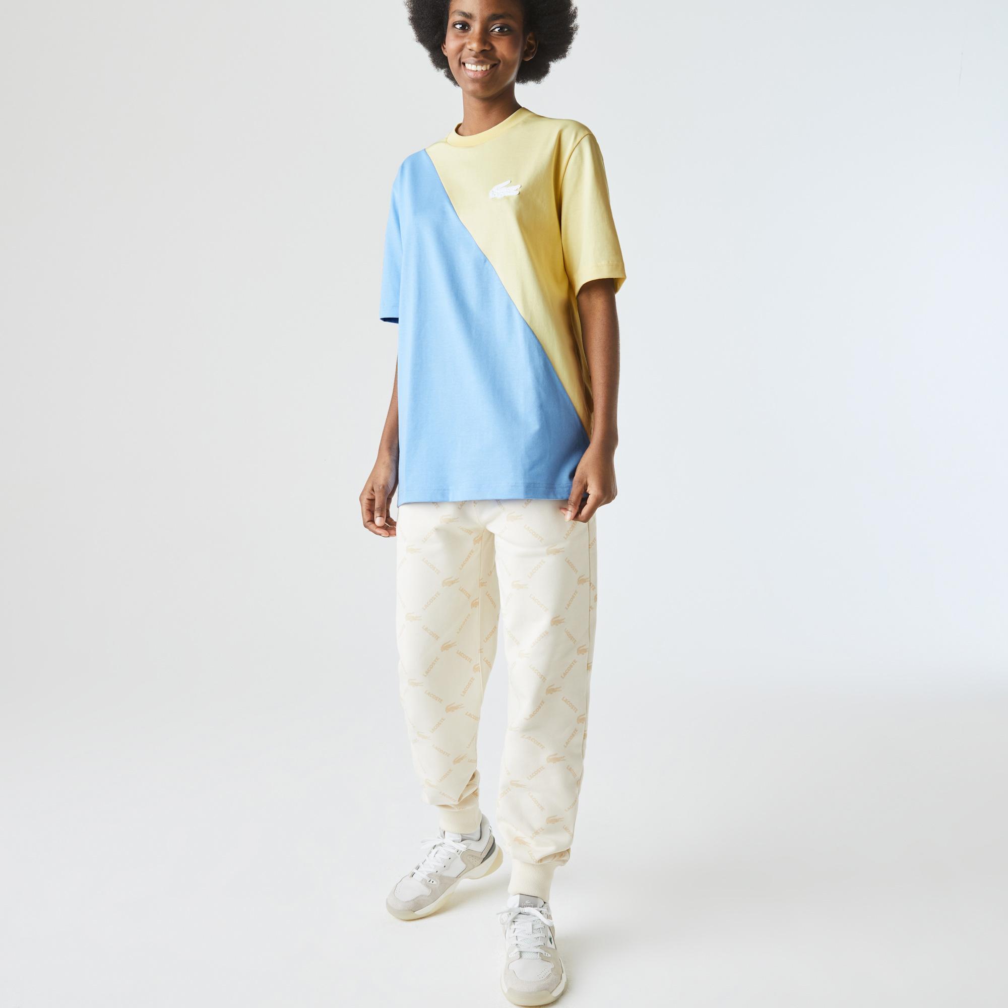 Lacoste L!ve Unisex Loose Fit Bisiklet Yaka Renk Bloklu Sarı - Mavi T-Shirt