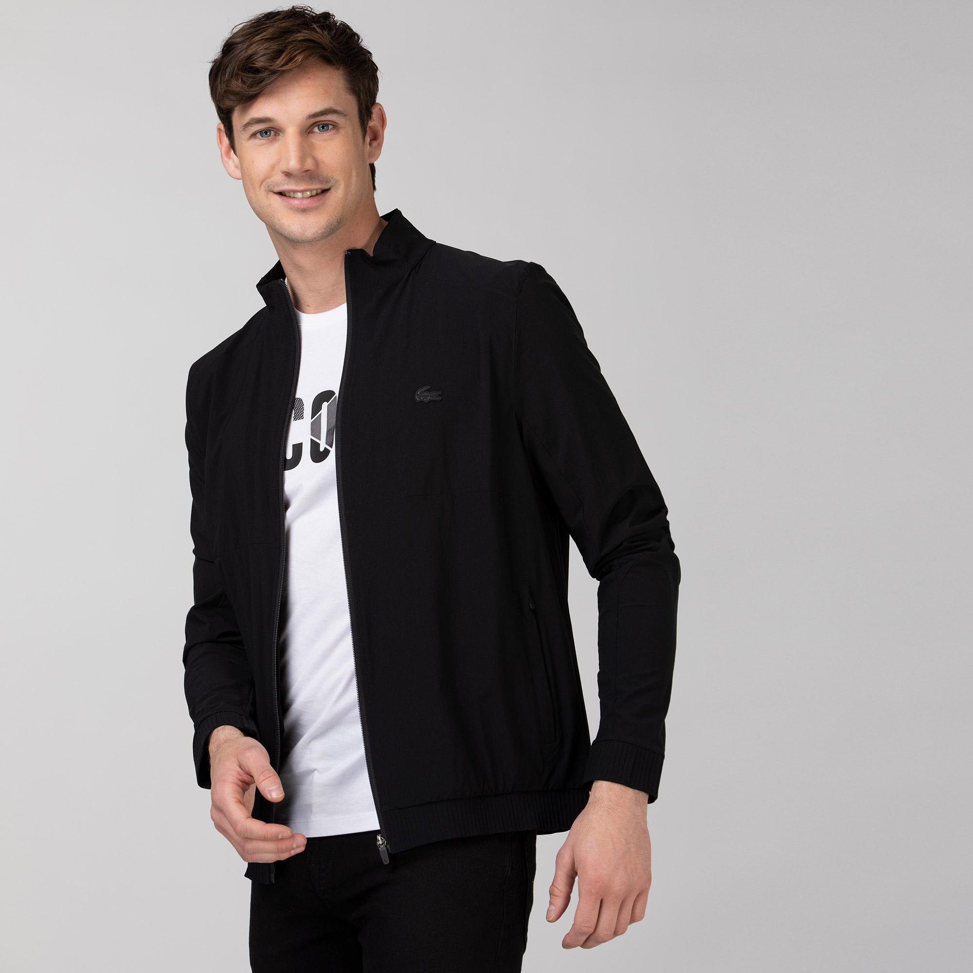 Lacoste Erkek Dik Yaka Baskılı Siyah Ceket