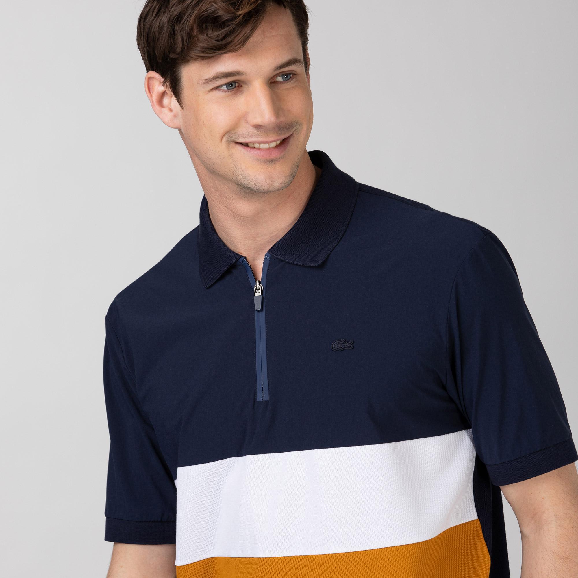 Lacoste Erkek Rahat Fit Fermuarlı Yaka Renk Bloklu Renkli Polo