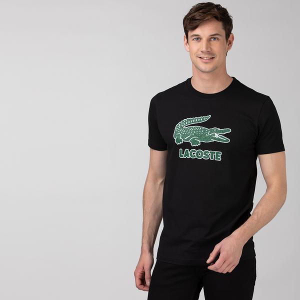 Lacoste Erkek Regular Fit Bisiklet Yaka Baskılı Siyah T-Shirt