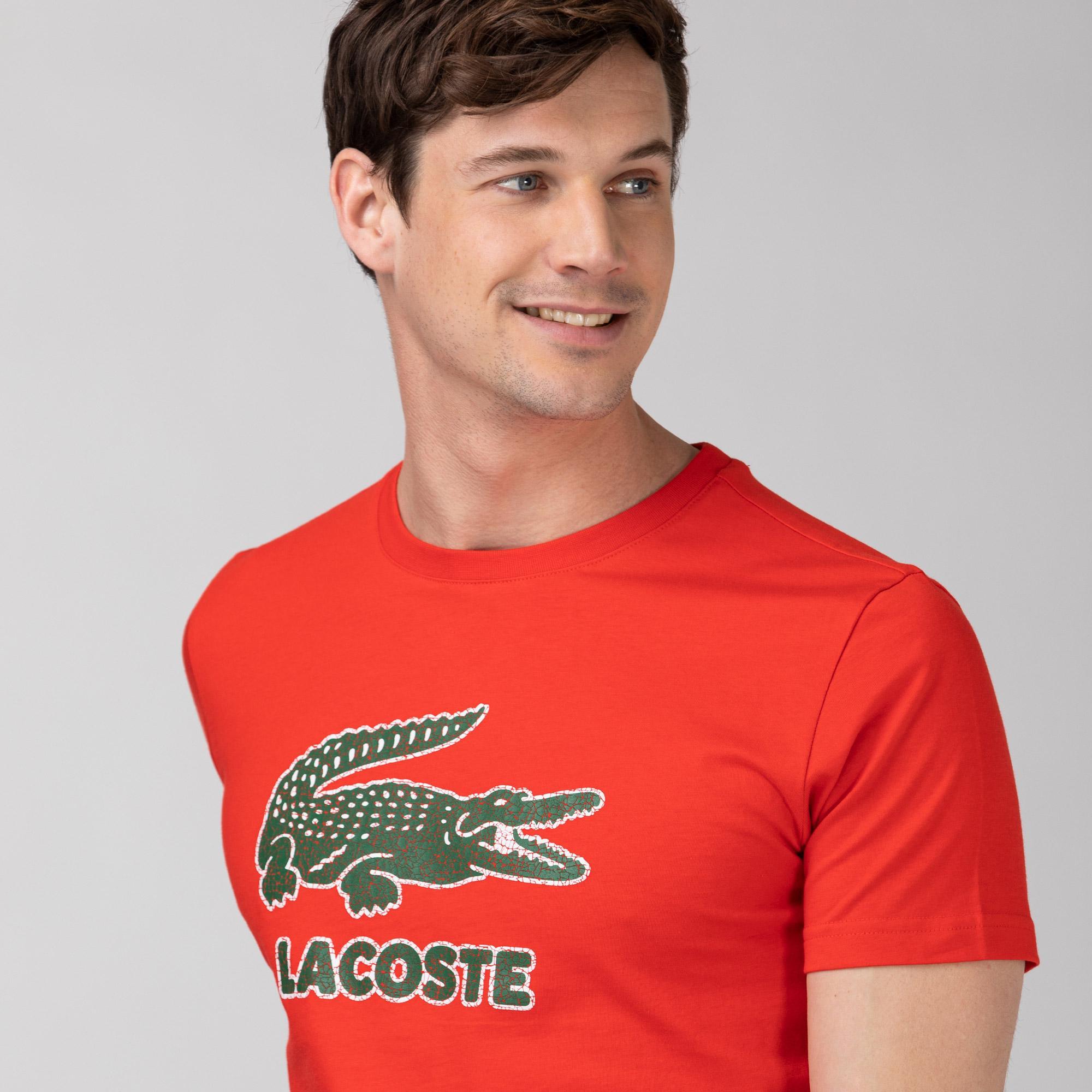 Lacoste Erkek Regular Fit Bisiklet Yaka Baskılı Kırmızı T-Shirt