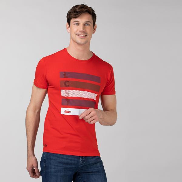 Lacoste Erkek Slim Fit Bisiklet Yaka Baskılı Kırmızı T-Shirt