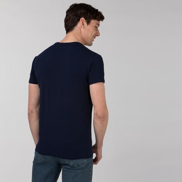 Lacoste Erkek Slim Fit Bisiklet Yaka Baskılı Lacivert T-Shirt