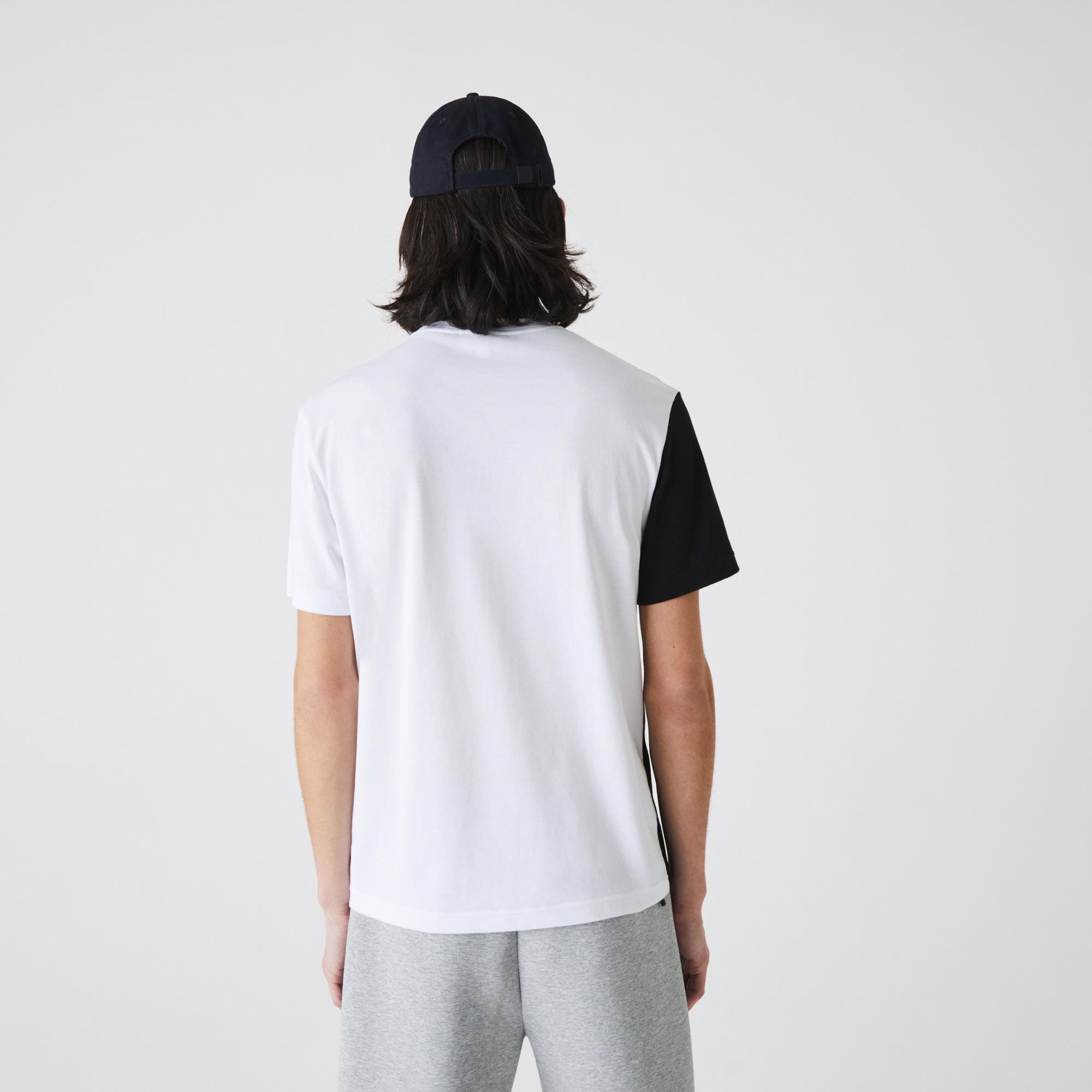 Lacoste Erkek Regular Fit Bisiklet Yaka Baskılı Renk Bloklu Beyaz T-Shirt