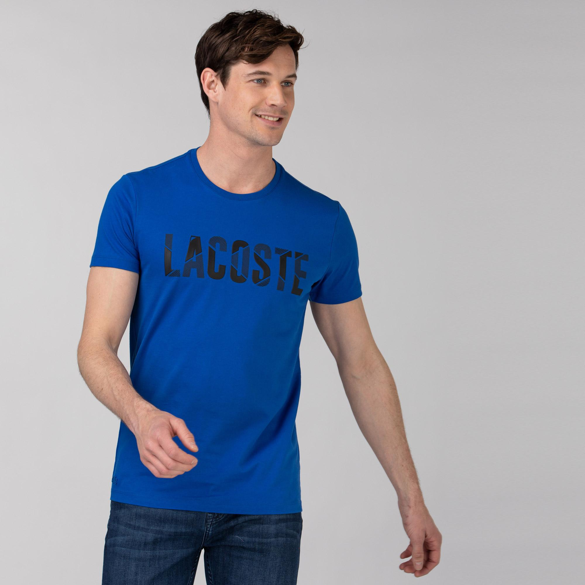 Lacoste Erkek Bisiklet Yaka Baskılı Mavi T-Shirt