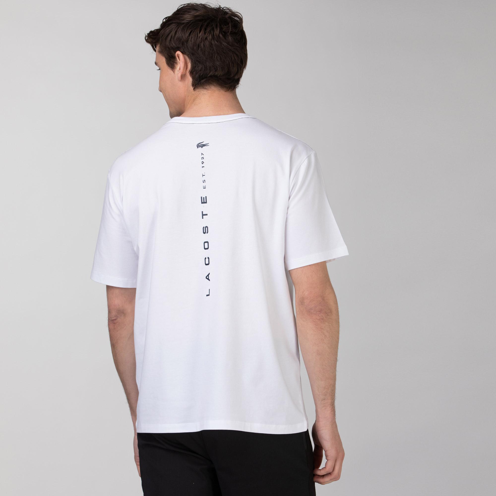 Lacoste Erkek Rahat Fit Bisiklet Yaka Baskılı Beyaz T-Shirt