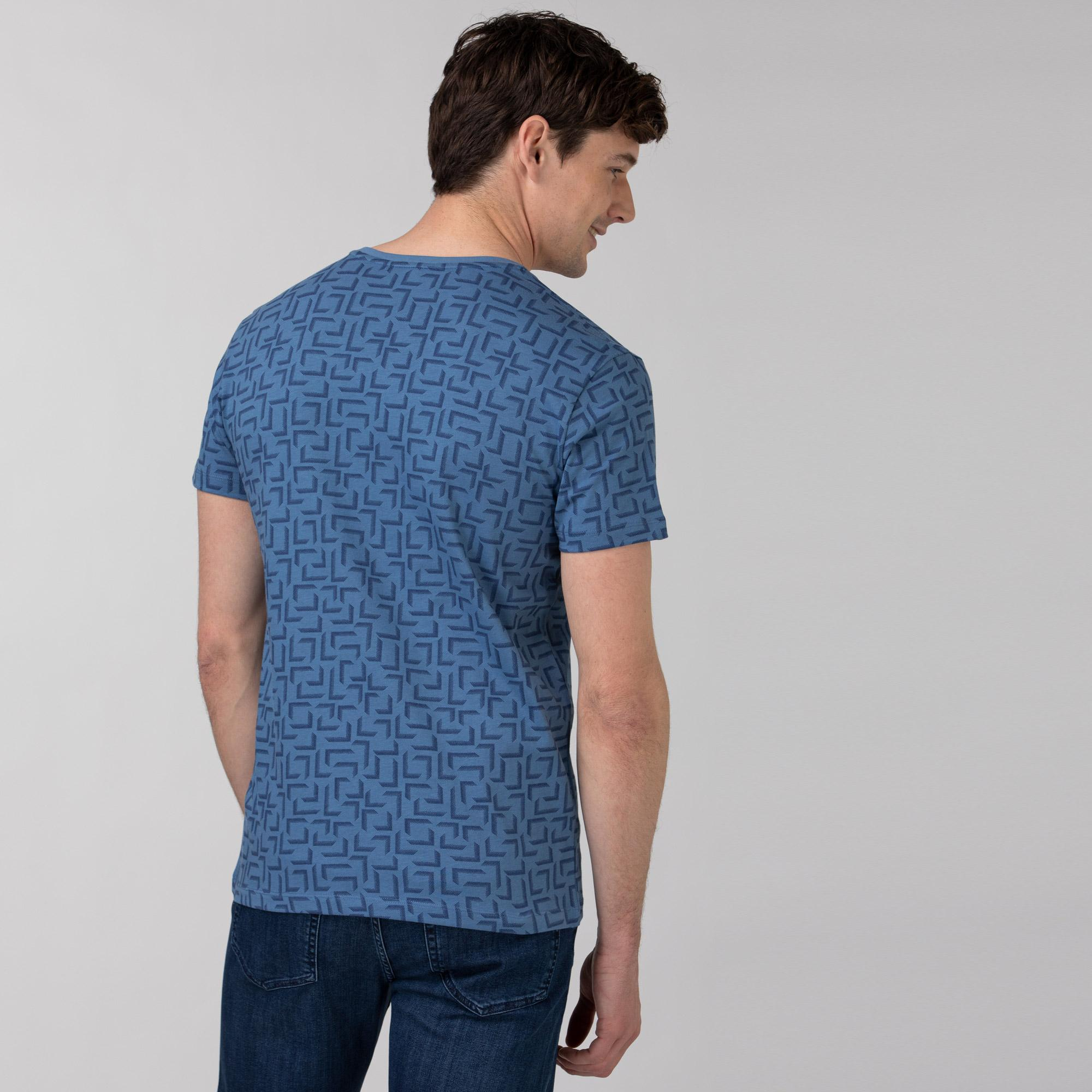 Lacoste Erkek Slim Fit V Yaka Desenli Mavi T-Shirt