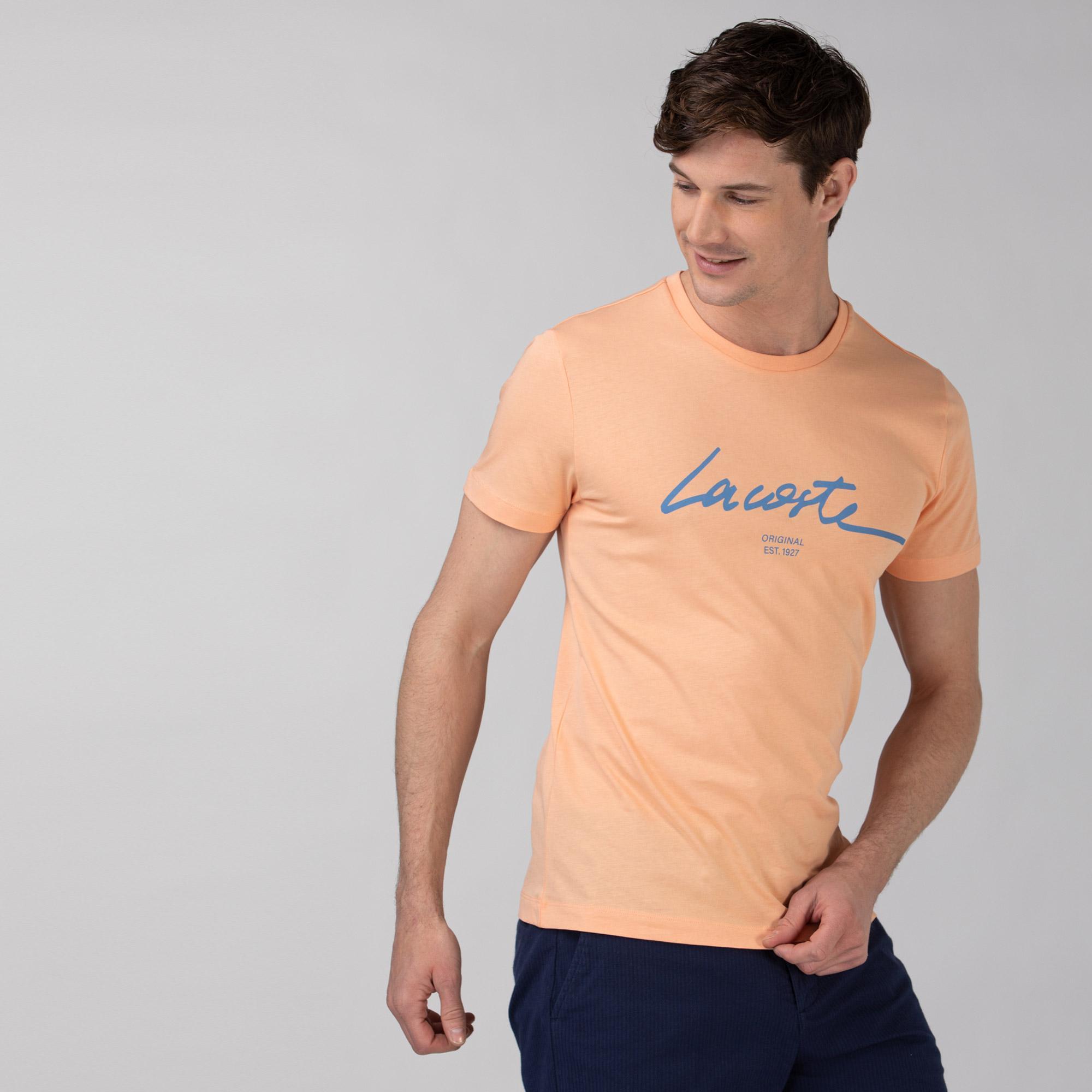 Lacoste Erkek Regular Fit Bisiklet Yaka Baskılı Pembe T-Shirt