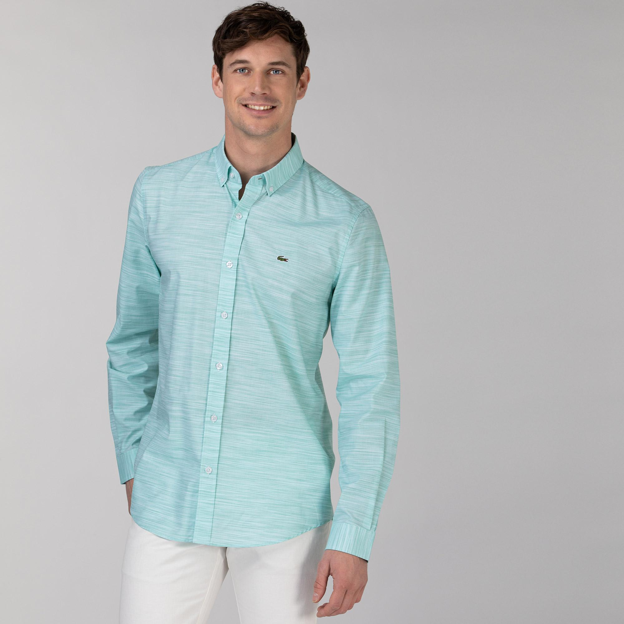 Lacoste Erkek Slim Fit Desenli Açık Yeşil Gömlek
