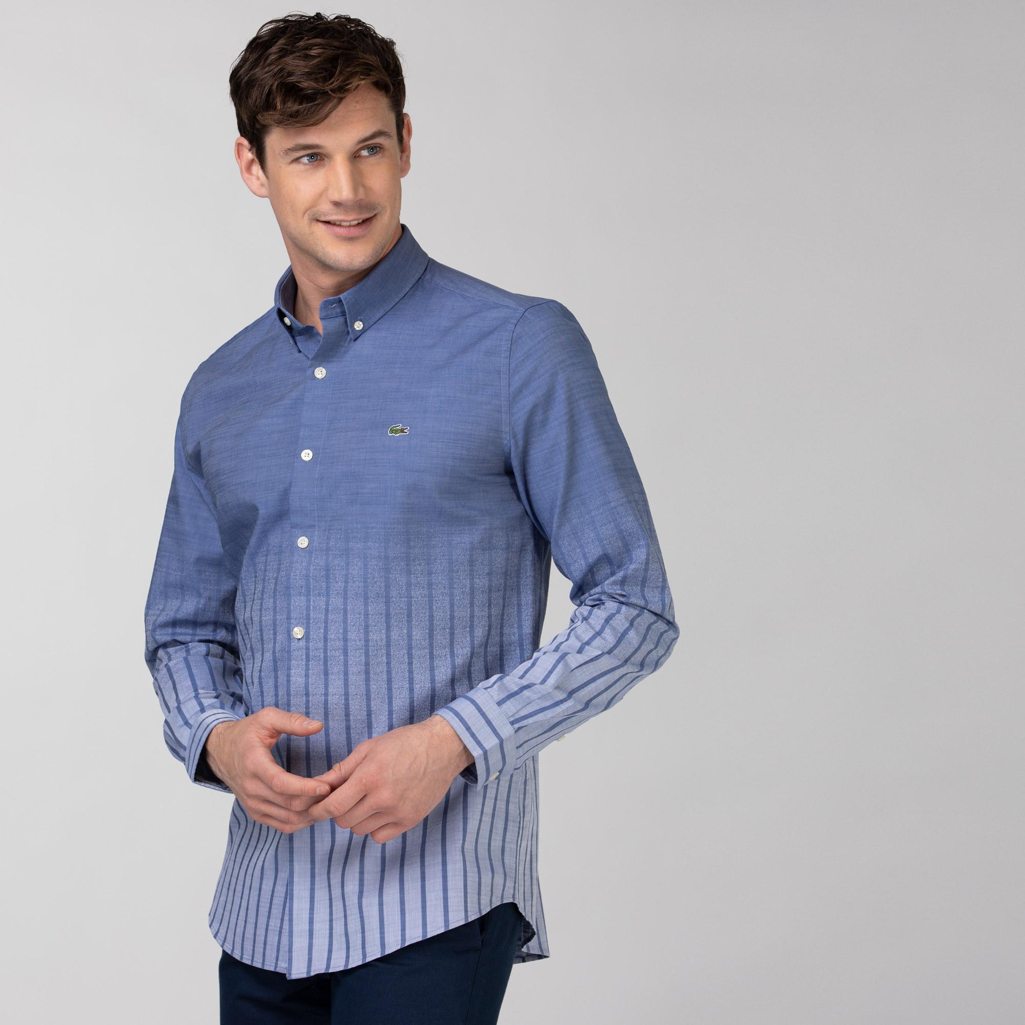 Lacoste Erkek Slim Fit Çizgili Açık Mavi Gömlek