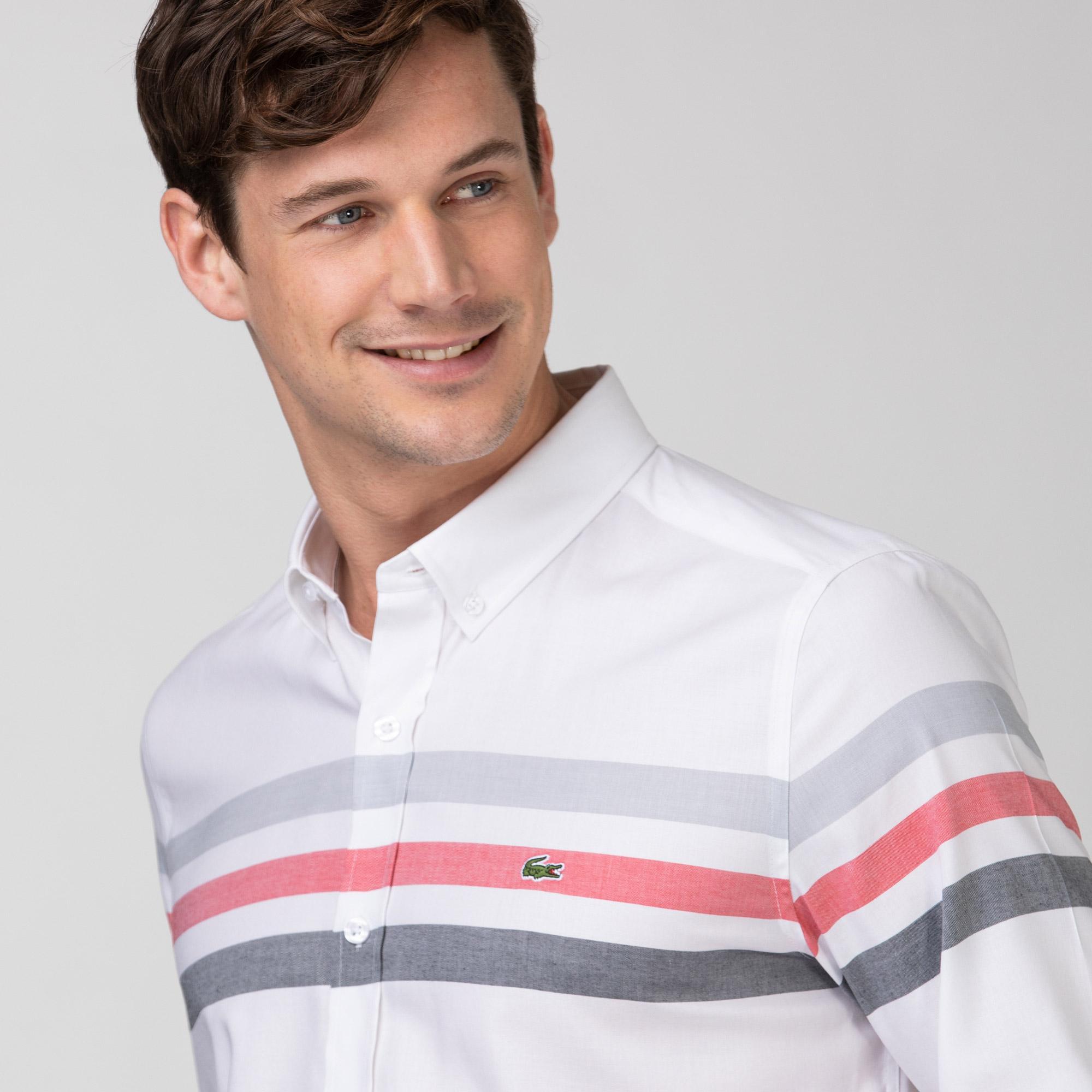 Lacoste Erkek Slim Fit Çizgili Beyaz - Gri Gömlek