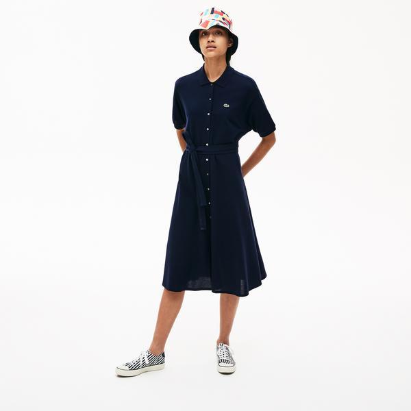 Lacoste Kadın Polo Yaka Kısa Kollu Lacivert Elbise