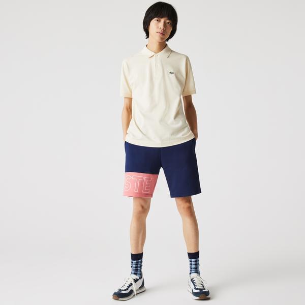 Lacoste Erkek Renk Bloklu Baskılı Lacivert - Pembe Şort