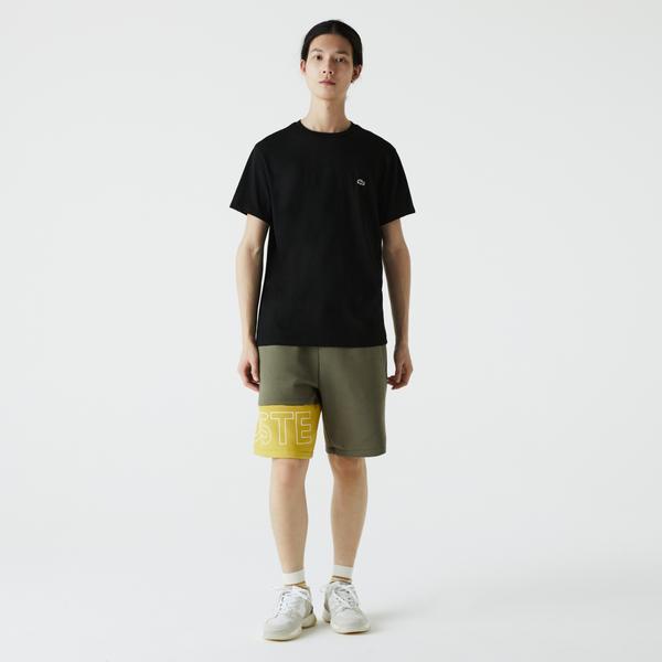 Lacoste Erkek Renk Bloklu Baskılı Haki - Sarı Şort