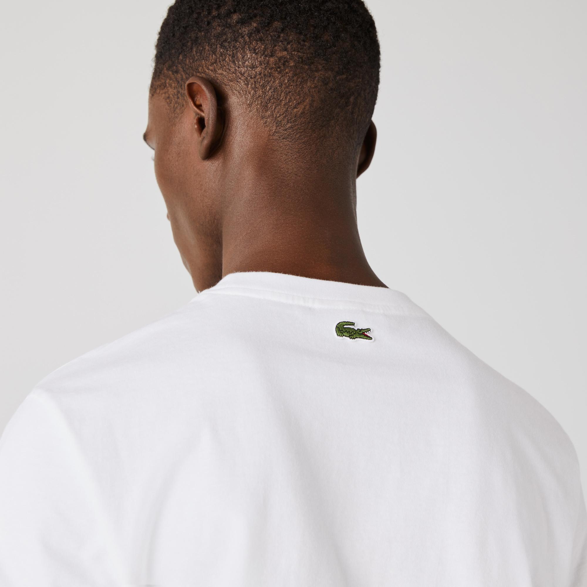 Lacoste Erkek Regular Fit Bisiklet Yaka Baskılı Beyaz T-Shirt