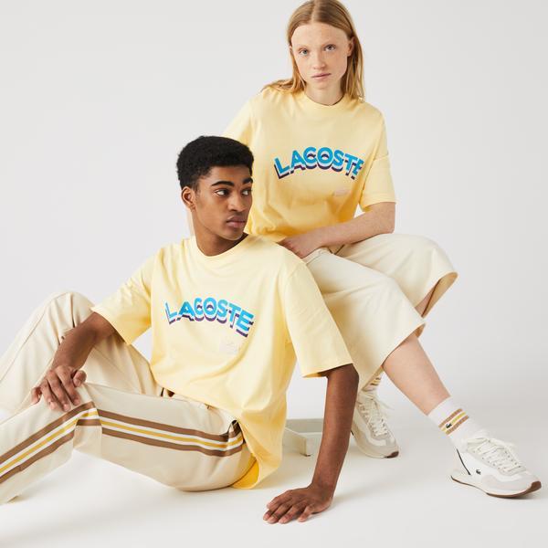 Lacoste L!ve Unisex Loose Fit Bisiklet Yaka Baskılı Sarı T-Shirt