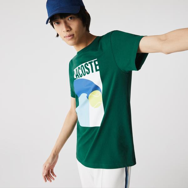 Lacoste Sport Erkek Bisiklet Yaka Baskılı Yeşil T-Shirt