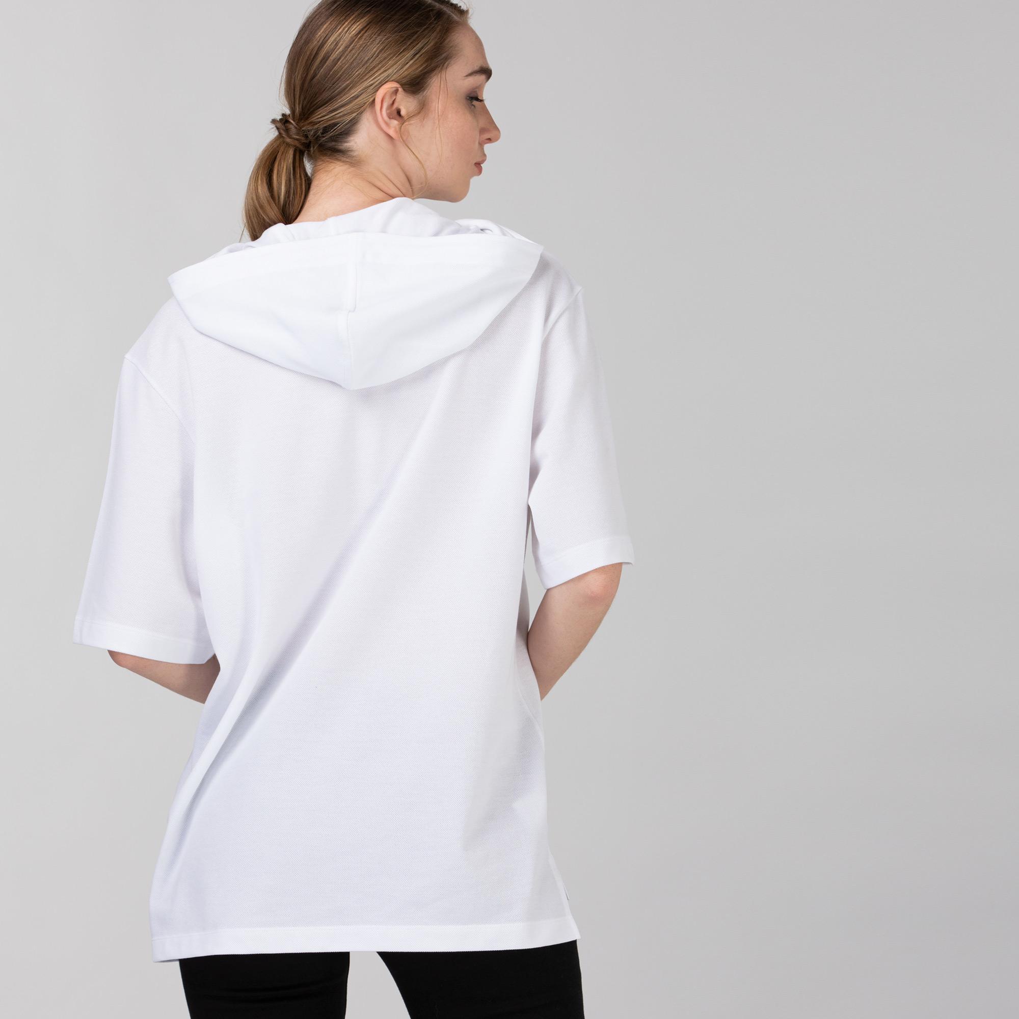 Lacoste Kadın Kapüşonlu Beyaz Polo
