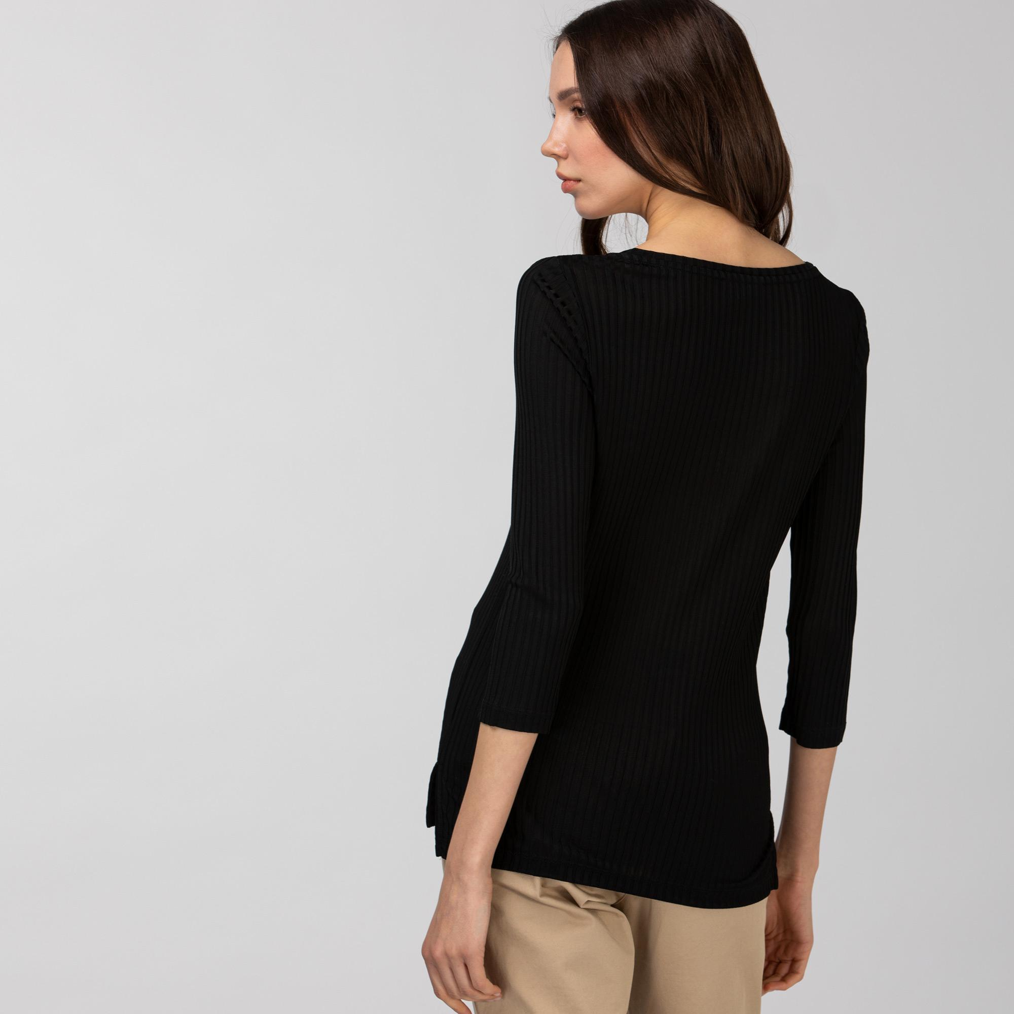 Lacoste Kadın Bisiklet Yaka Çizgili Uzun Kollu Siyah T-Shirt