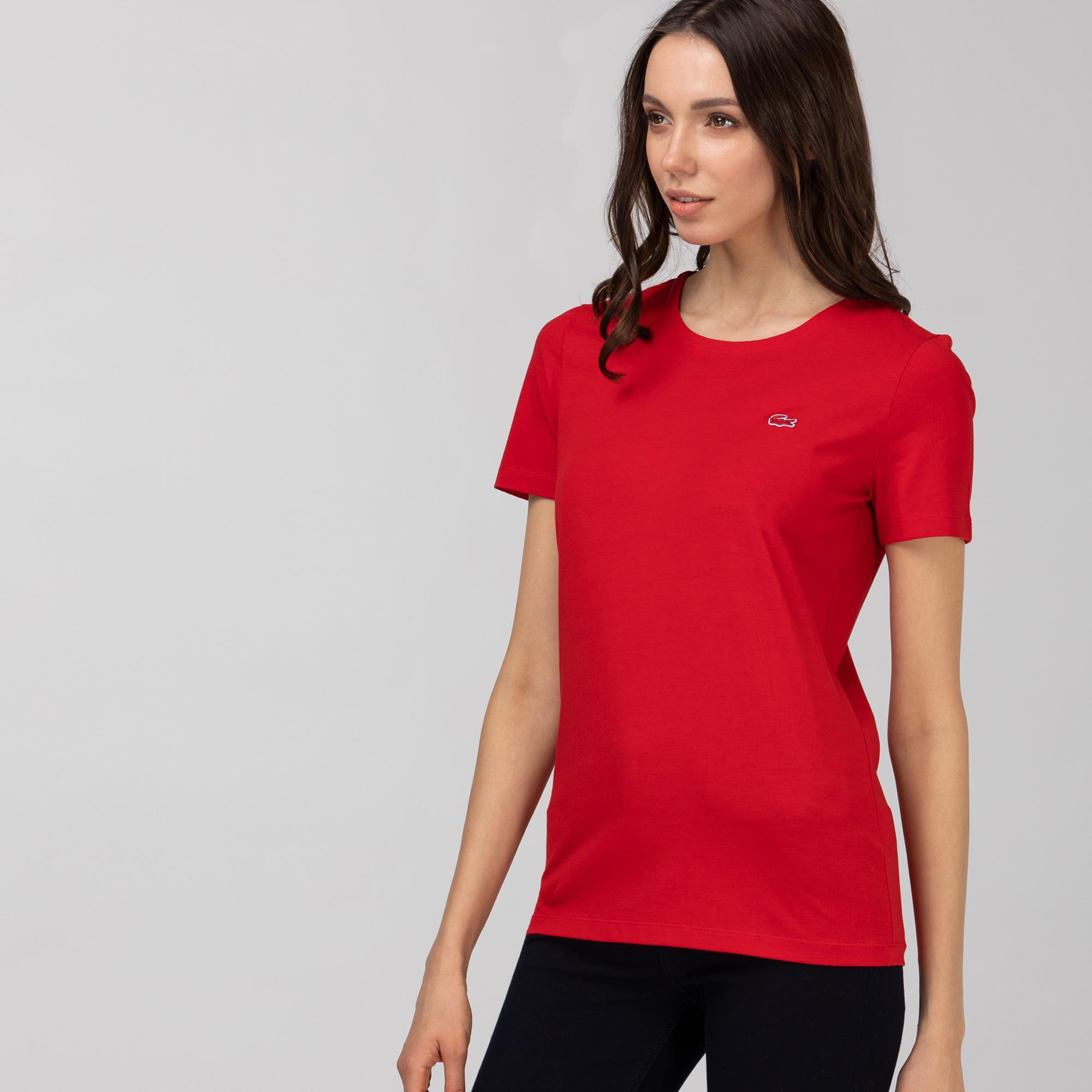 Lacoste Kadın Slim Fit Bisiklet Yaka Kırmızı T-Shirt