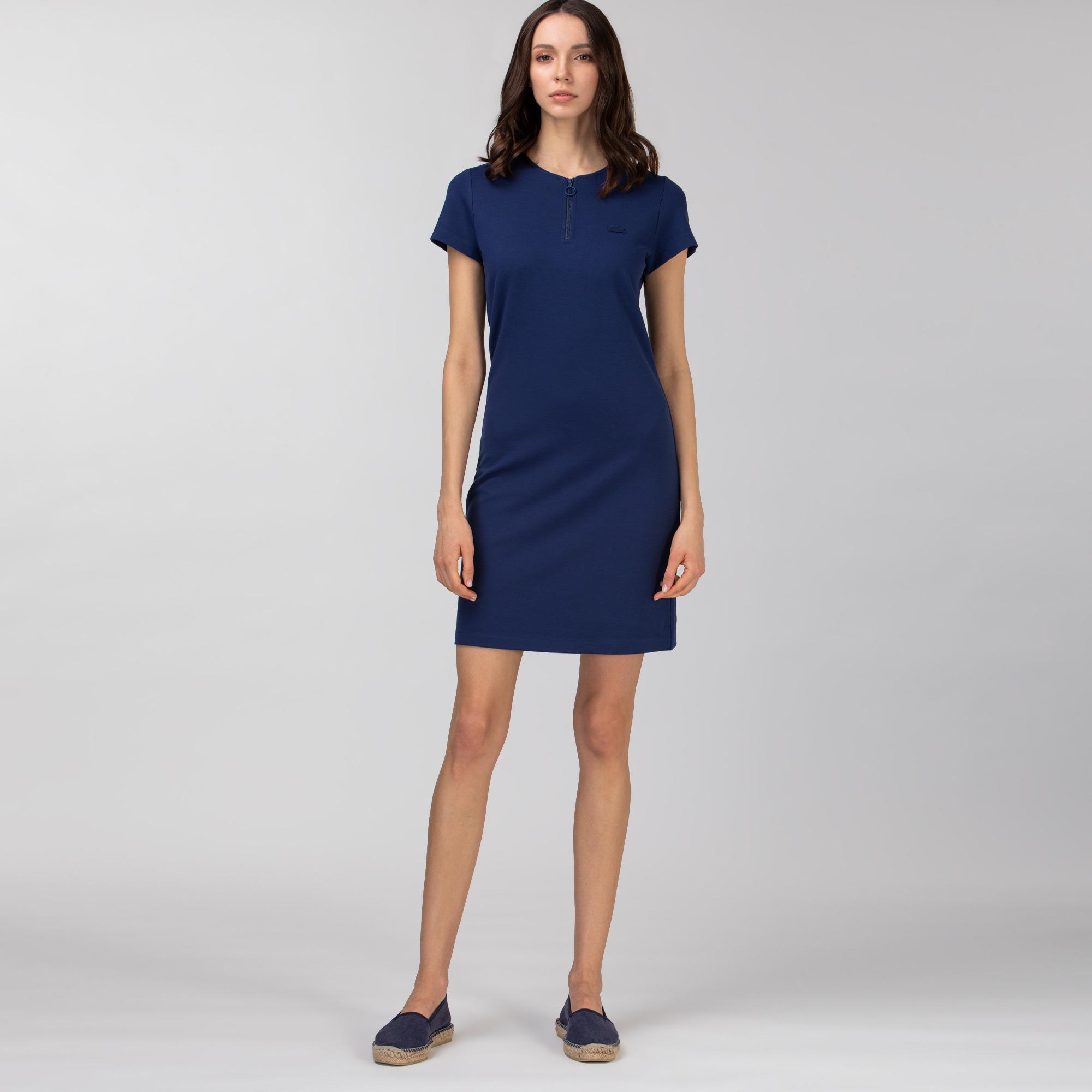 Lacoste Kadın Kısa Kollu Fermuarlı Yaka Lacivert Elbise