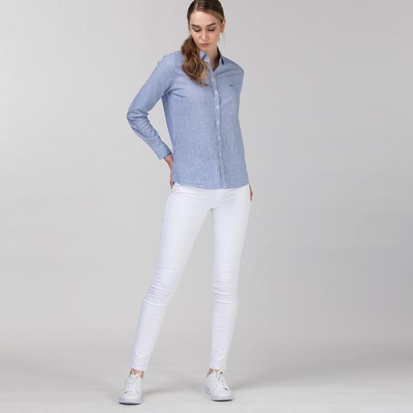 Lacoste Kadın Skinny Fit Beyaz Denim Pantolon