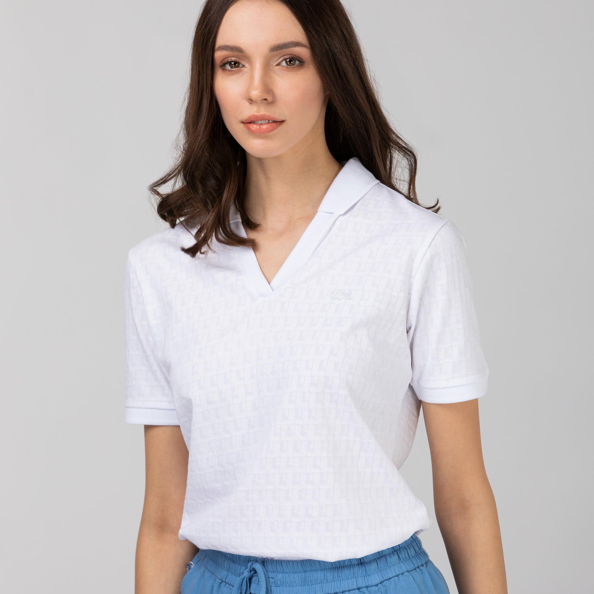 Lacoste Kadın Slim Fit Desenli Beyaz Polo