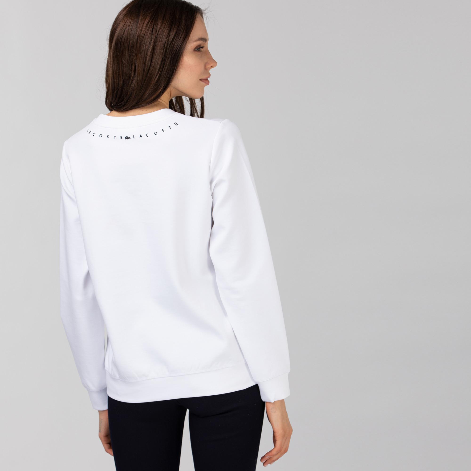 Lacoste Kadın Bisiklet Yaka Baskılı Beyaz Sweatshirt