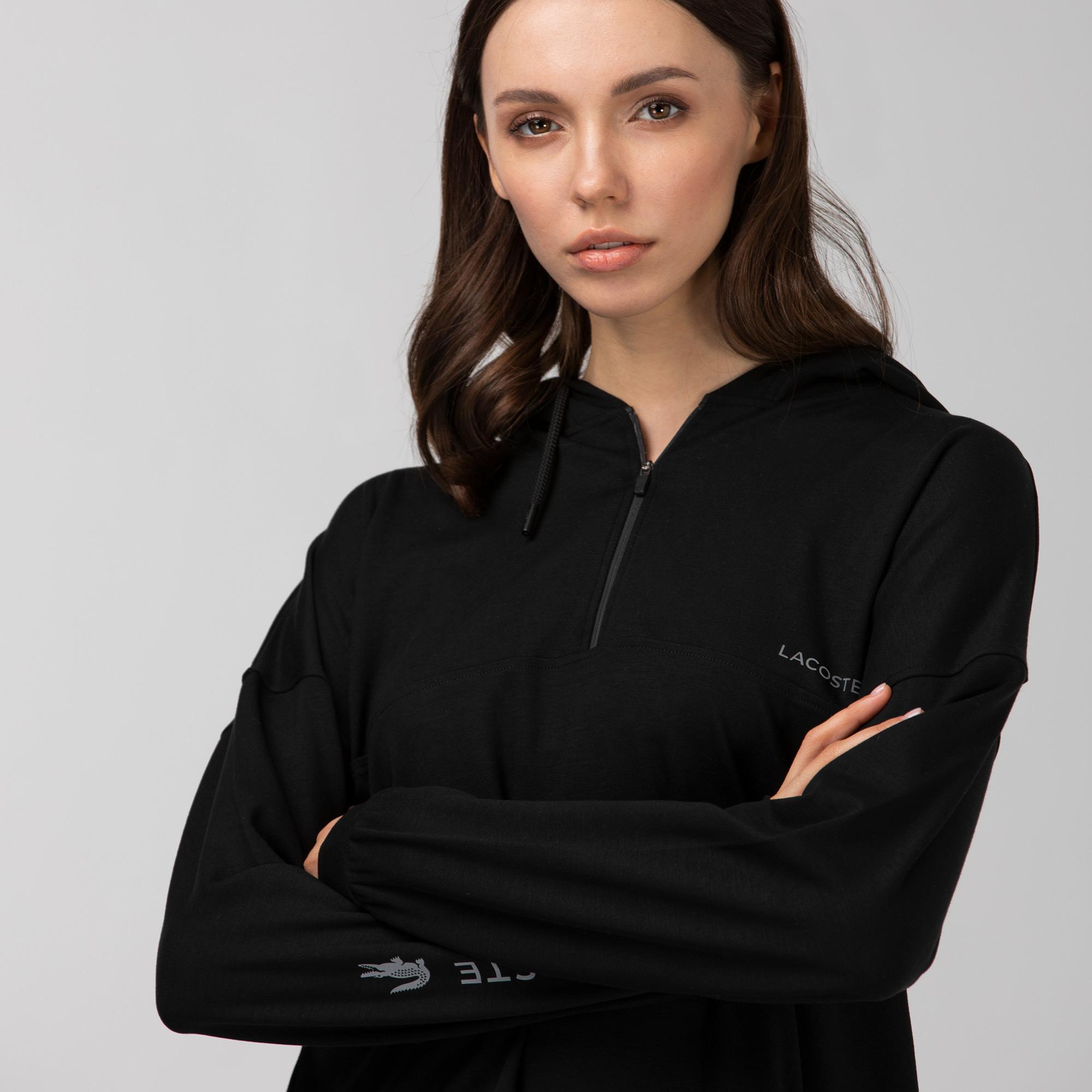 Lacoste Kadın Baskılı Fermuar Yaka Kapüşonlu Siyah Sweatshirt