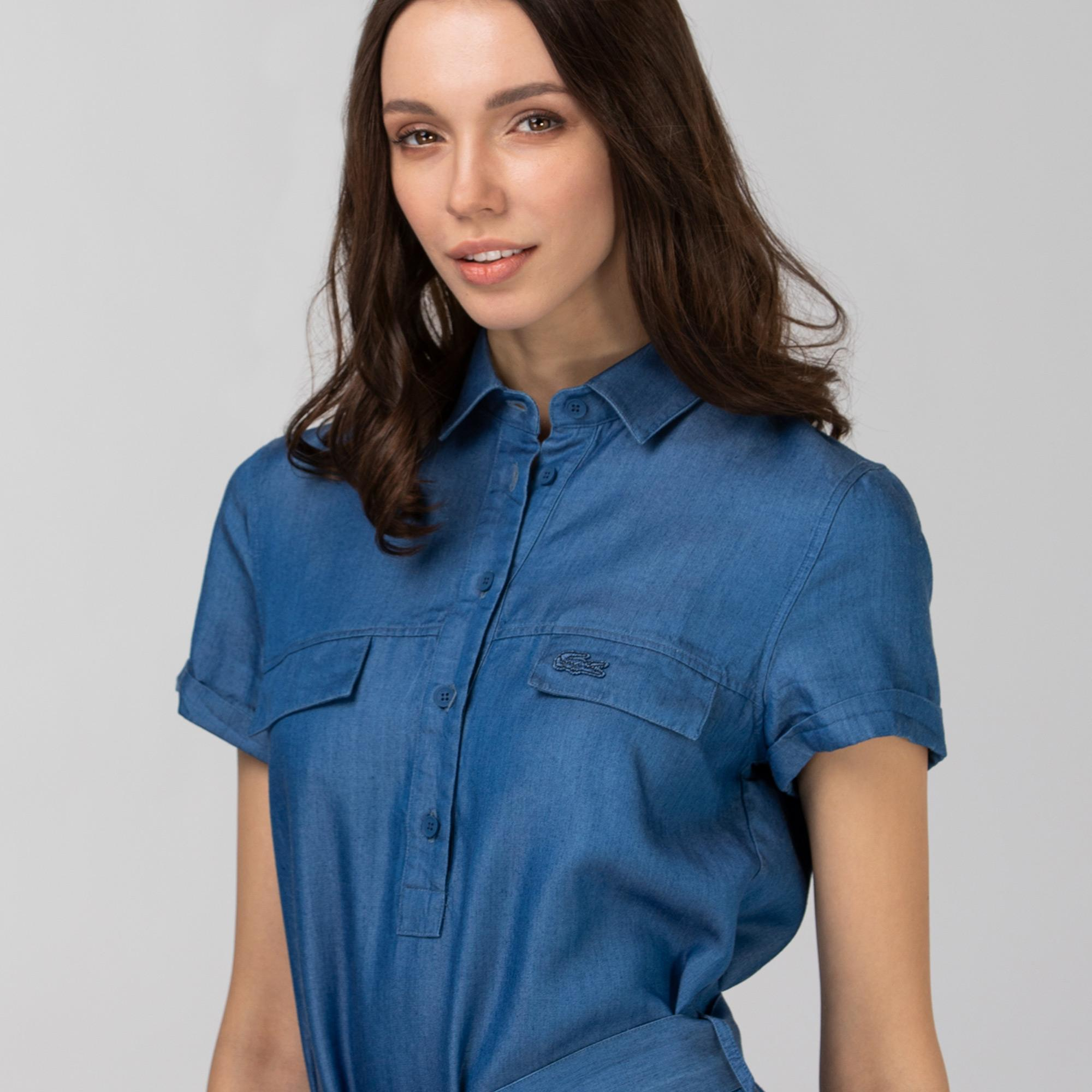 Lacoste Kadın Kısa Kollu Gömlek Yaka Açık Denim Elbise