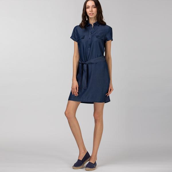 Lacoste Kadın Kısa Kollu Gömlek Yaka Denim Elbise