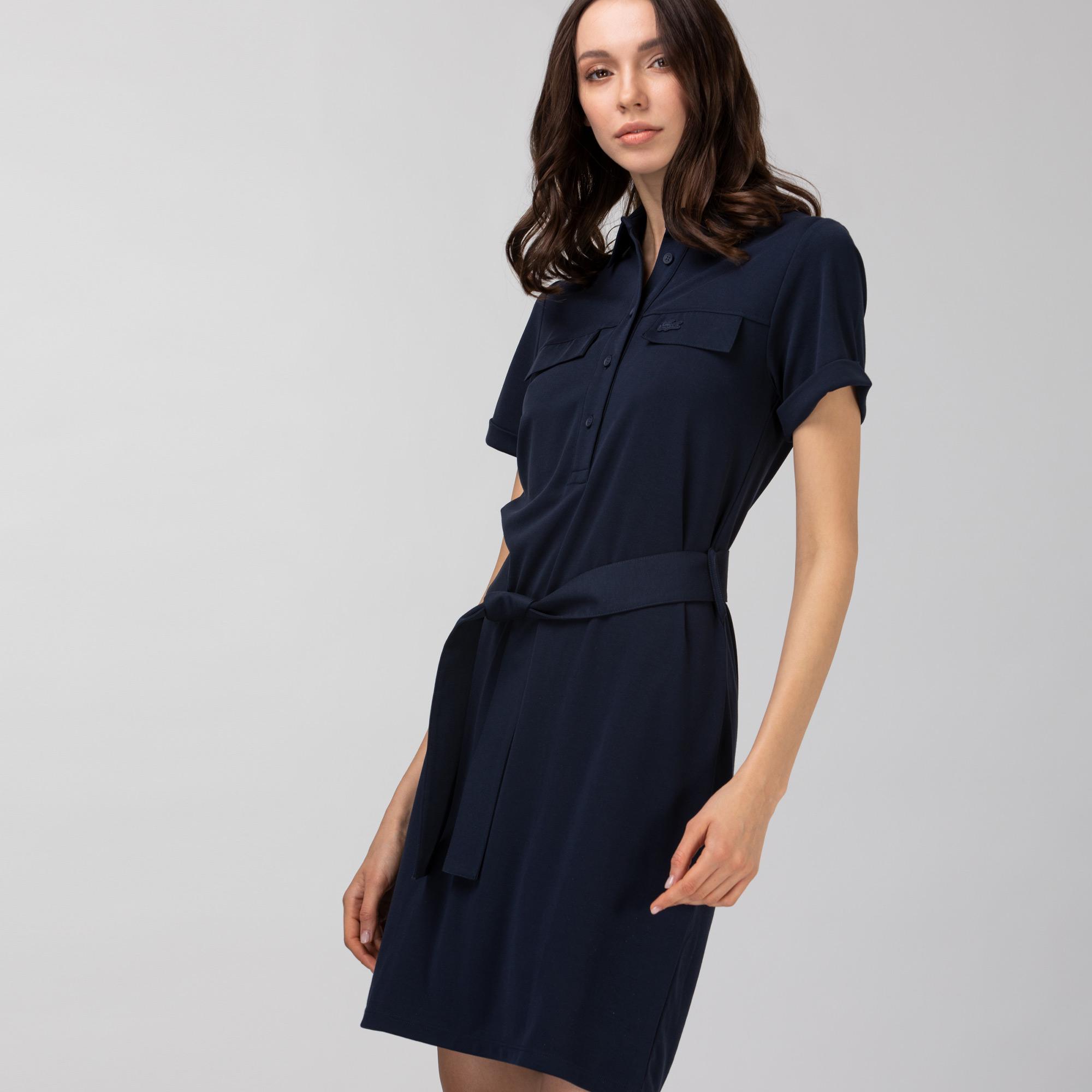 Lacoste Kadın Kısa Kollu Gömlek Yaka Lacivert Elbise
