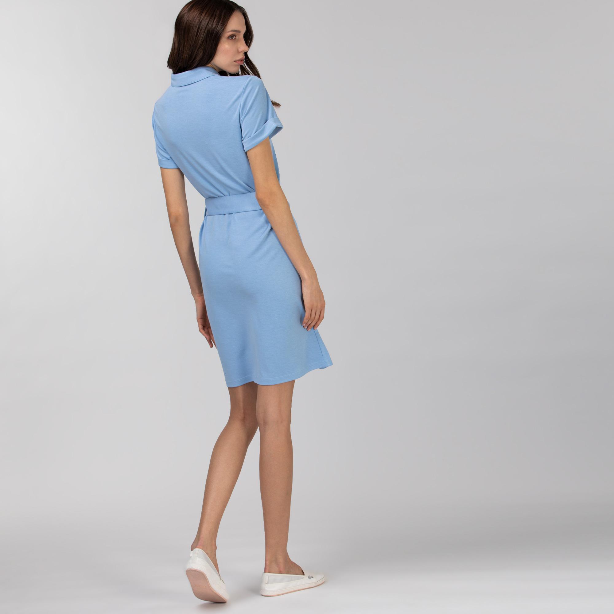 Lacoste Kadın Kısa Kollu Gömlek Yaka Açık Mavi Elbise