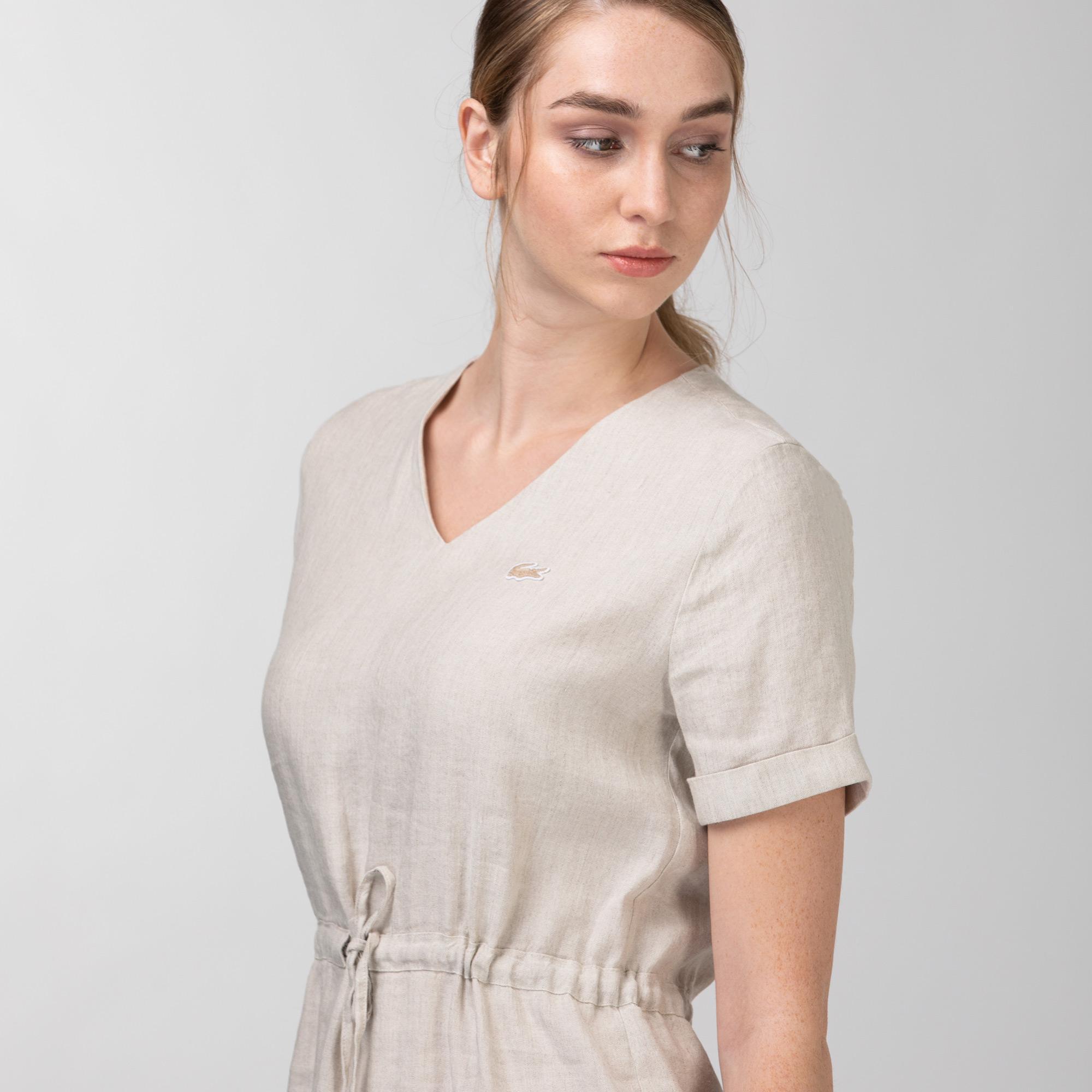 Lacoste Kadın Kısa Kollu V Yaka Bej Elbise