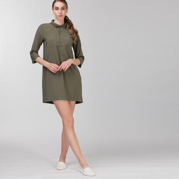 Lacoste Kadın Kısa Kollu Fermuarlı Haki Elbise