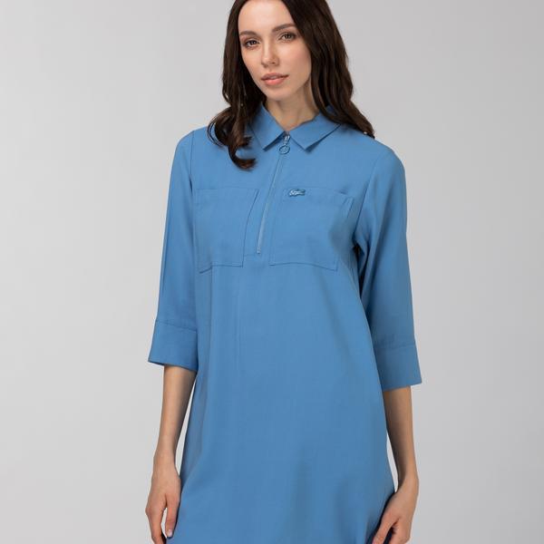 Lacoste Kadın Kısa Kollu Fermuarlı Mavi Elbise