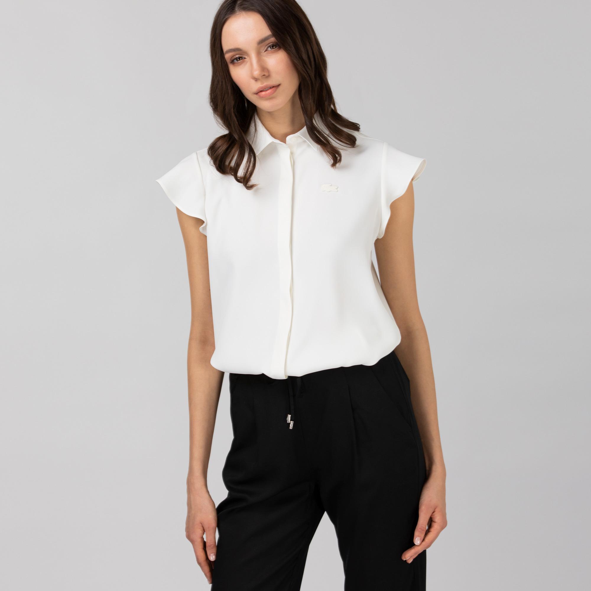 Lacoste Kadın Kolsuz Beyaz Gömlek