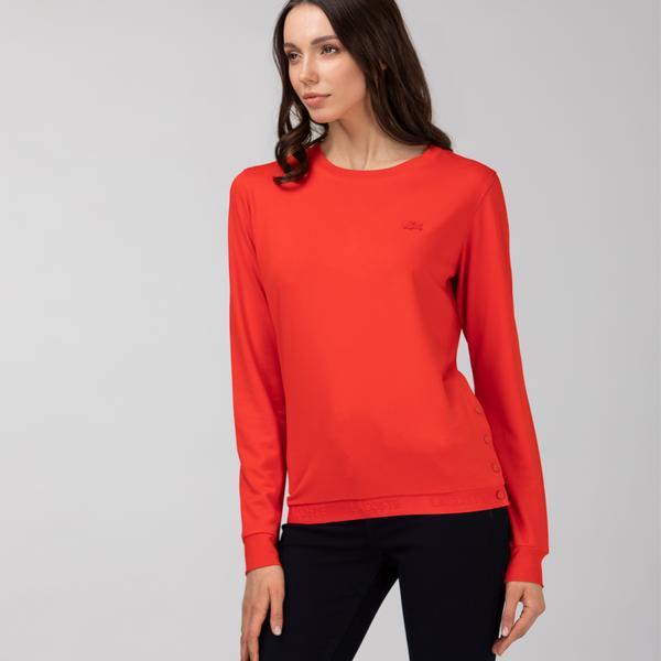 Lacoste Kadın Bisiklet Yaka Kırmızı Sweatshirt
