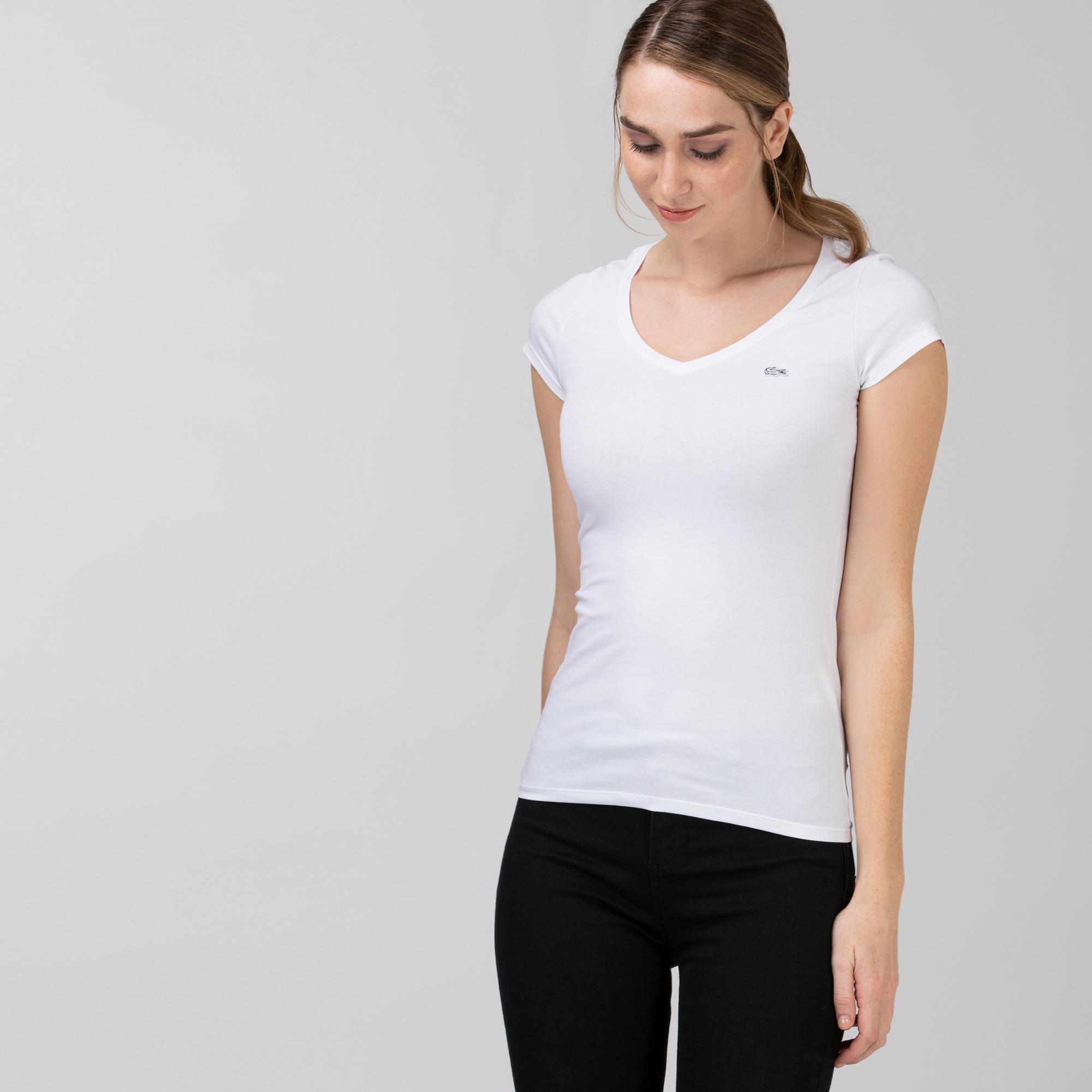 Lacoste Kadın V Yaka Beyaz T-Shirt