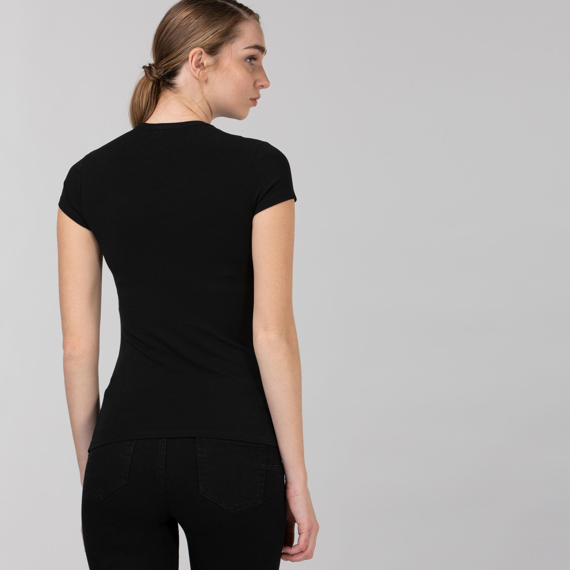 Lacoste Kadın Bisiklet Yaka Siyah T-Shirt