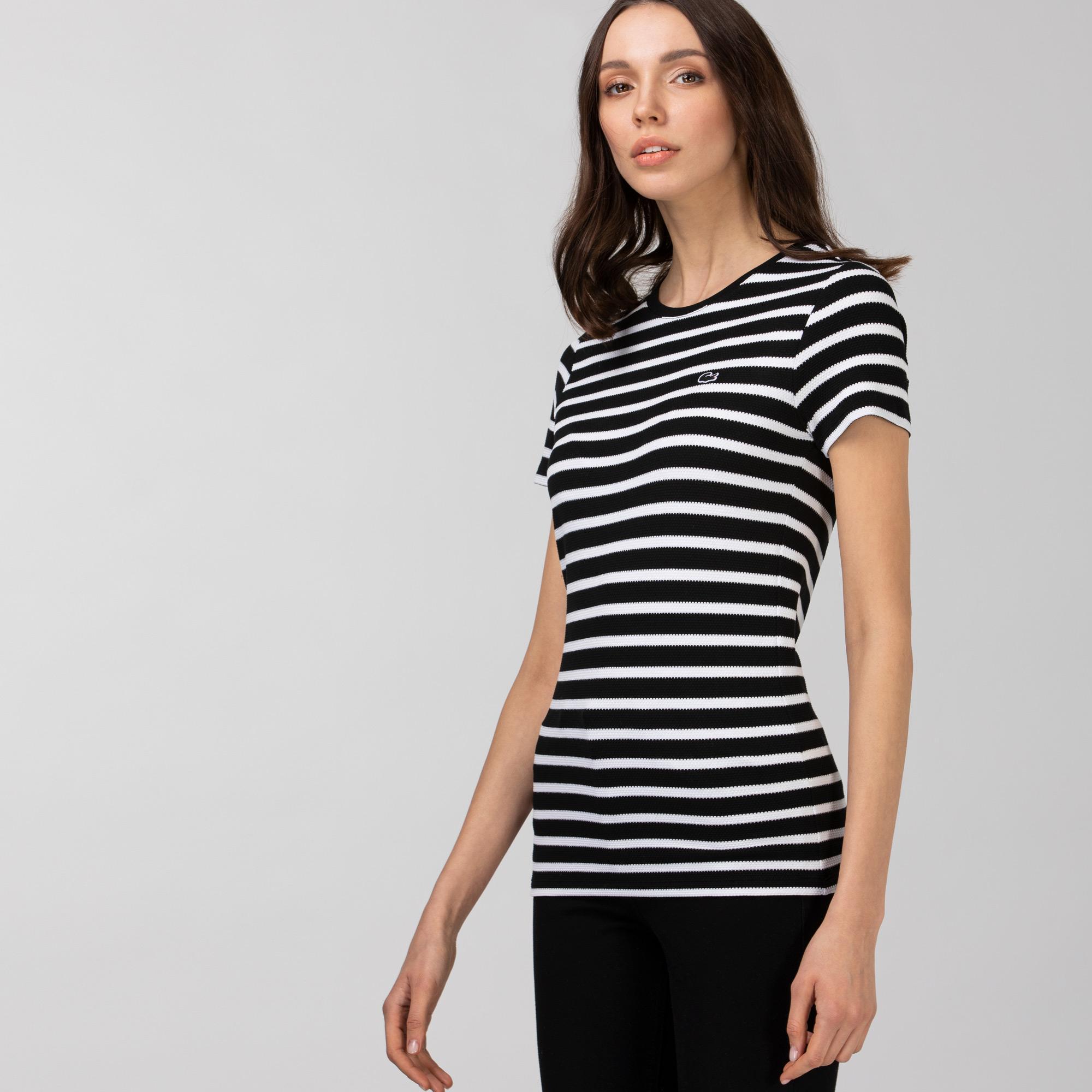 Lacoste Kadın Bisiklet Yaka Çizgili Siyah - Beyaz T-Shirt