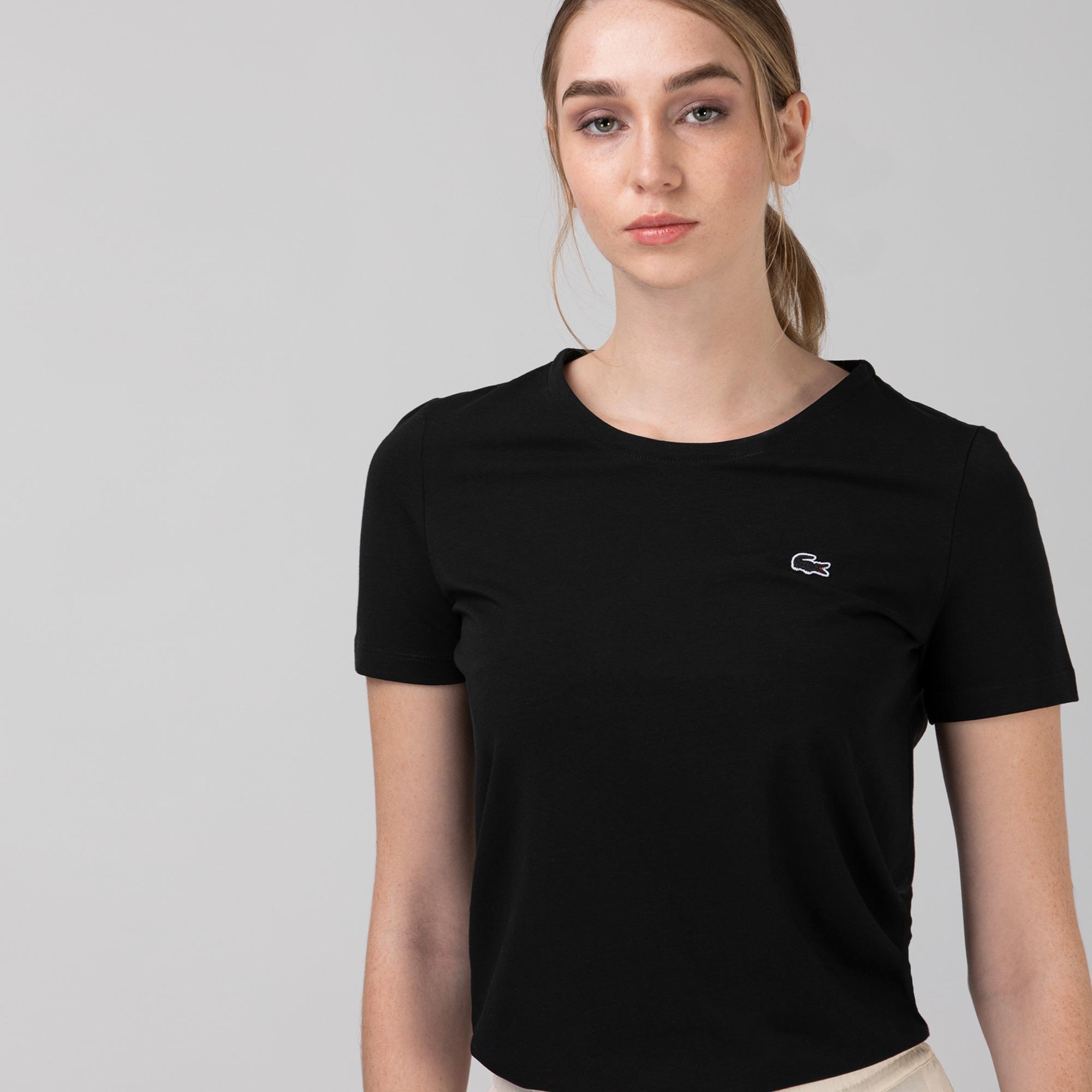 Lacoste Kadın Slim Fit Bisiklet Yaka Siyah T-Shirt