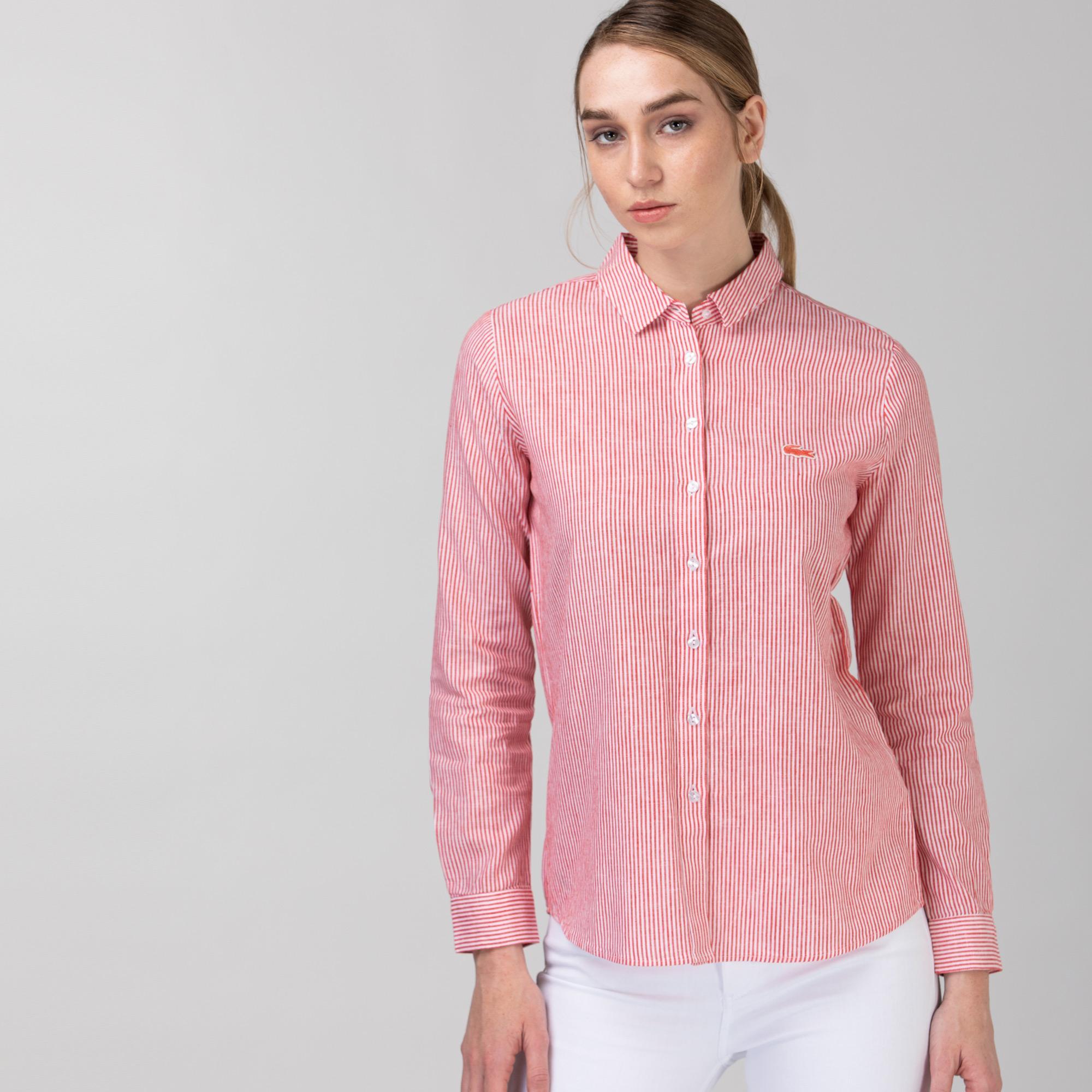 Lacoste Kadın Çizgili Kırmızı Gömlek