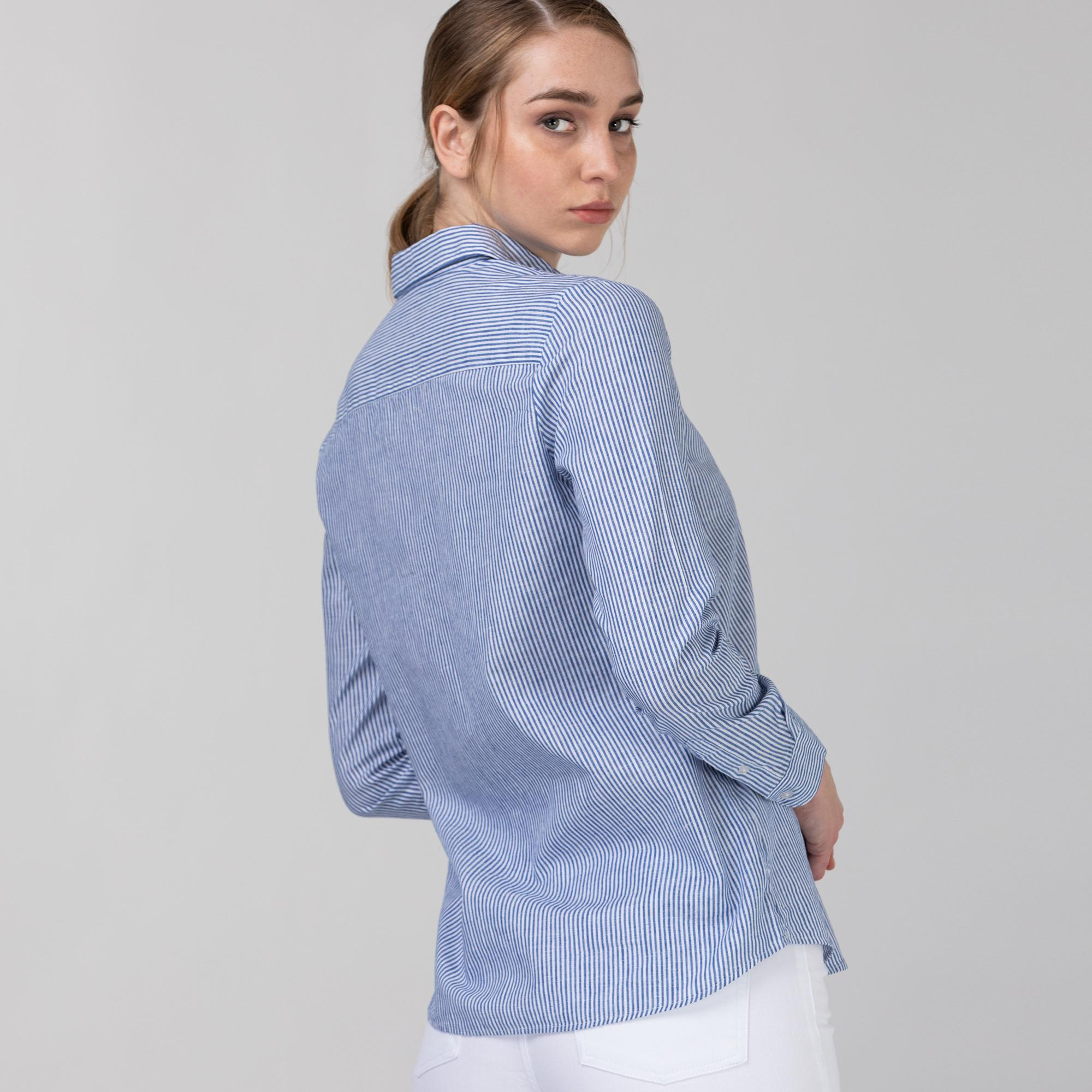 Lacoste Kadın Çizgili Lacivert - Beyaz Gömlek