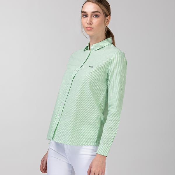 Lacoste Kadın Çizgili Yeşil Gömlek